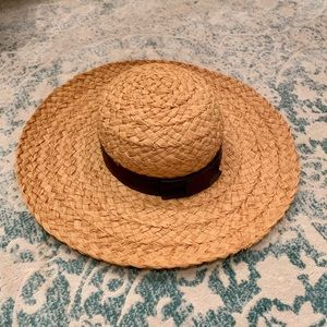 Vintage 1950's Straw Sun Hat with Grosgrain Bow